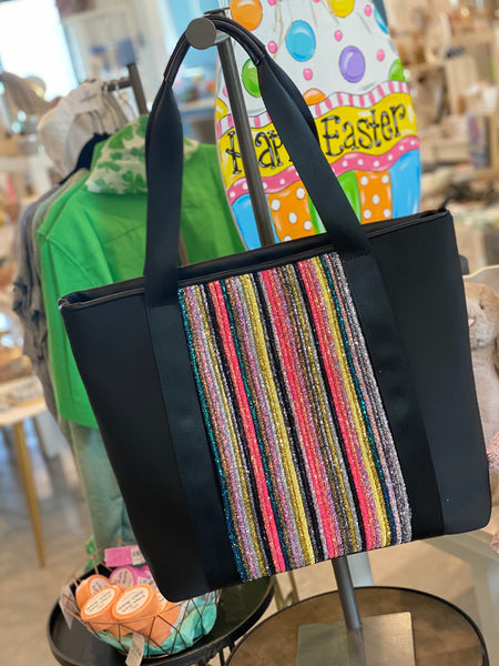 Neoprene with Glitter Panel Tote