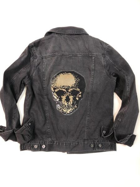 Black & Gold Skull Denim Jacket