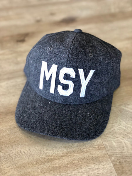 MSY Hat Grey Wool with White