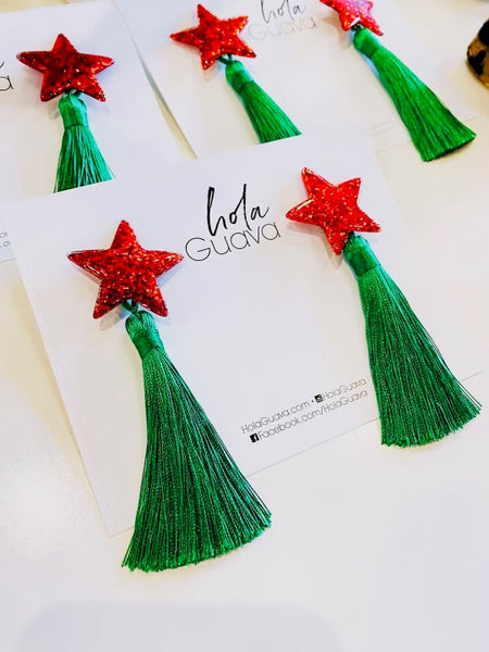 Hola Guava Red Star Single Tassel Green Classic Earrings