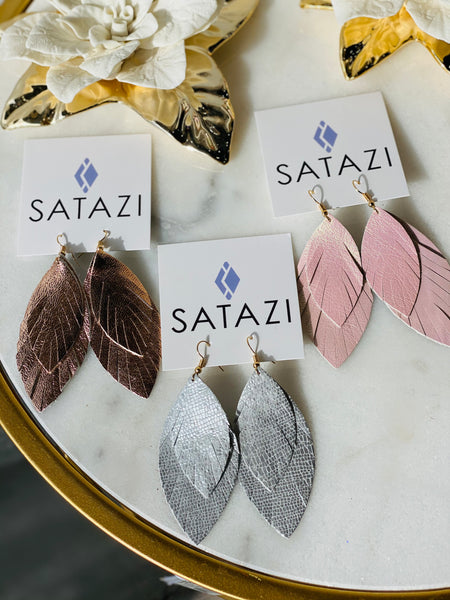 Double Feather Leather Earrings