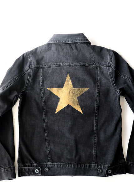 Gold Foil Star Denim Jacket
