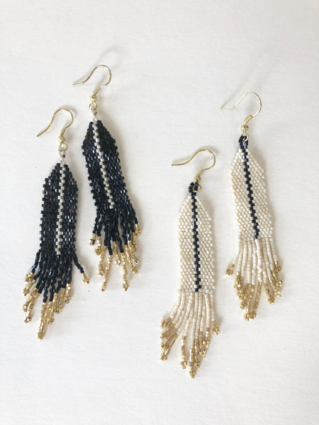 Luxe Beaded Earrings with Single Stripe & Fringe