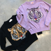 Tiger Face Sequin Sweater
