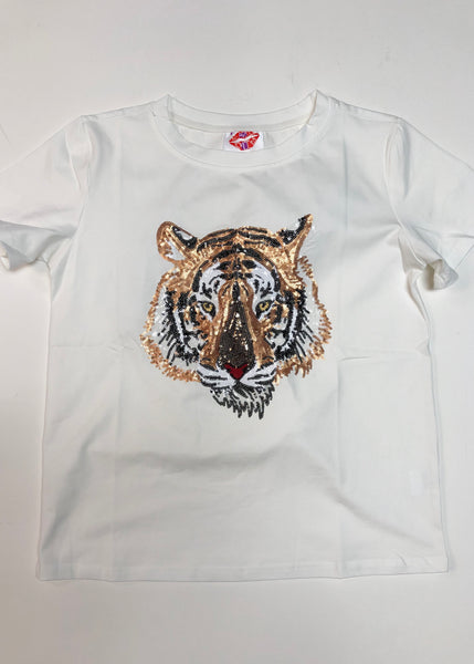 Tiger Face Sequin Tee
