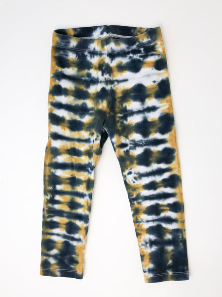 Black & Gold Tie Dye Leggings, Kids