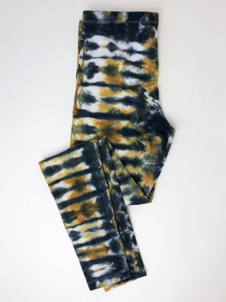 Black & Gold Tie Dye Leggings, Adult