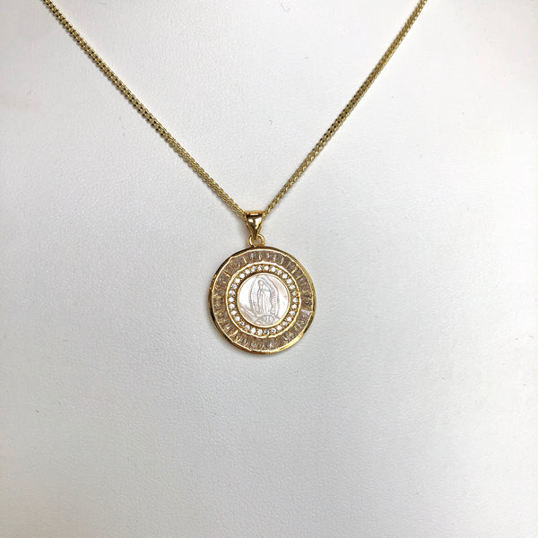 Gold Filled Double Halo Pendant Necklace, Vera