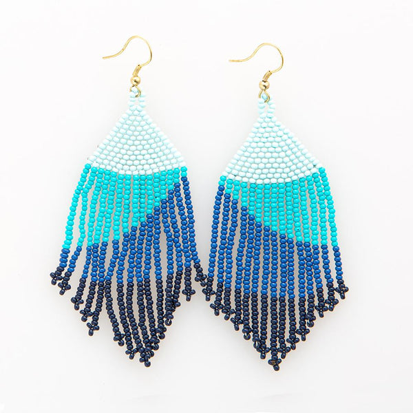 Seed Bead Earring, Blue Ombre