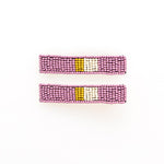 Lilac Citron Ivory Beaded Hair Clips
