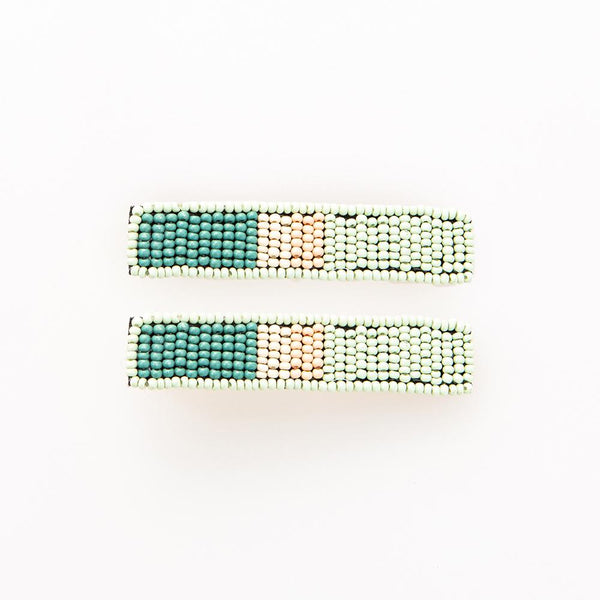 Mint Teal And Lilac Beaded Hair Clips