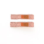 Pink Coral And Rust Beaded Hair Clips