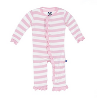 Kickee Pants with Snaps, Pink Stripe Coveralls