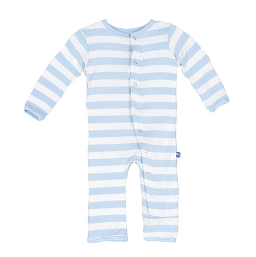 Kickee Pants with Snaps, Blue Stripe Coverall