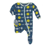 Kickee Pants Zipper Footie Twilight Planets