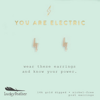 You Are Electric Lightning Bolt Earrings