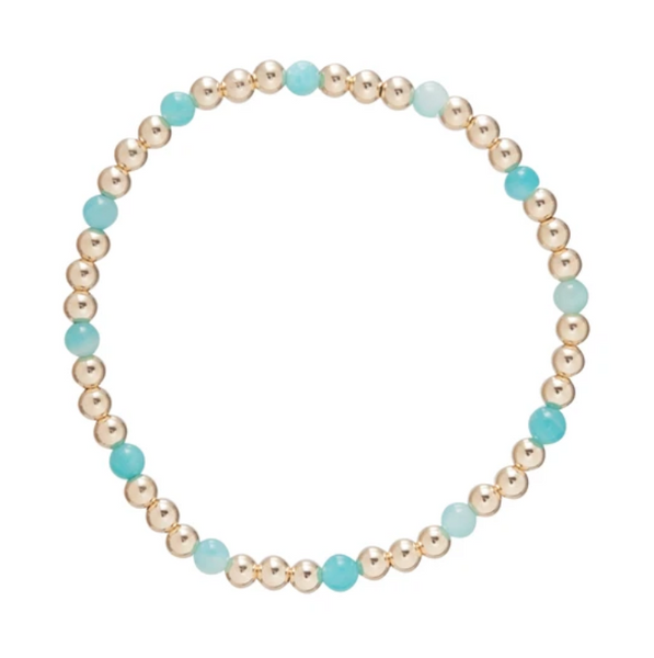 Gold Bead Bracelet, Sincerity 4mm Amazonite