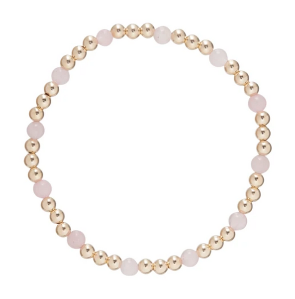 Gold Bead Bracelet, Sincerity 4mm Rose Quartz
