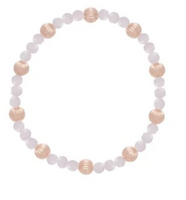 Gold Bead Bracelet, Sincerity 4mm Dignity 6mm, Rose Quartz