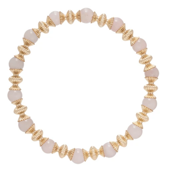Gold Bead Bracelet, Loyalty 6mm, Rose Quartz