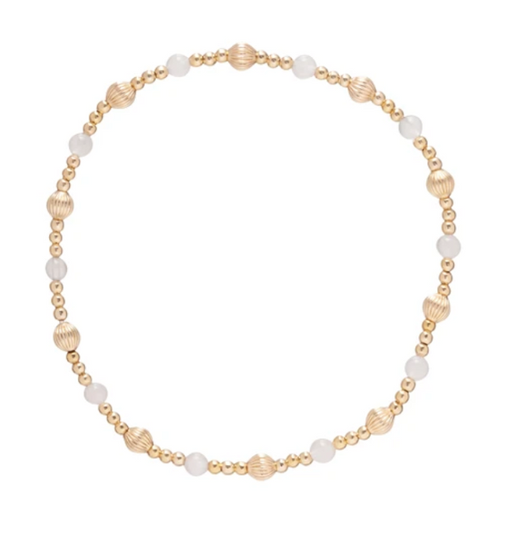 Gold Bead Bracelet, Dignity Sincerity 4mm, Rose Quartz