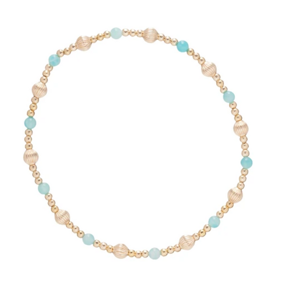 Gold Bead Bracelet, Dignity Sincerity 4mm, Amazonite