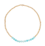 Gold Bead Bracelet, Bliss 2mm, Amazonite