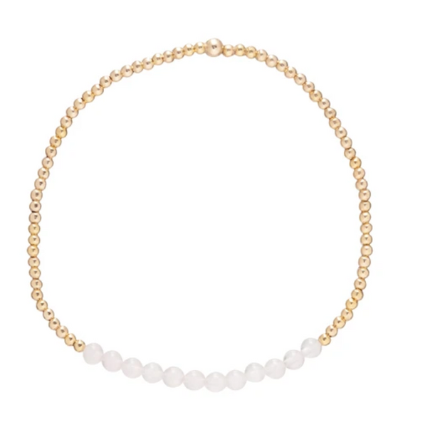 Gold Bead Bracelet, Bliss 2mm, Rose Quartz