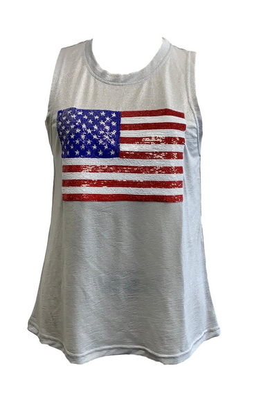 Sparkle American Flag Tank, Silver