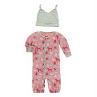 Kickee Pants Ruffle Converter and Hat Set, Strawberry Animals