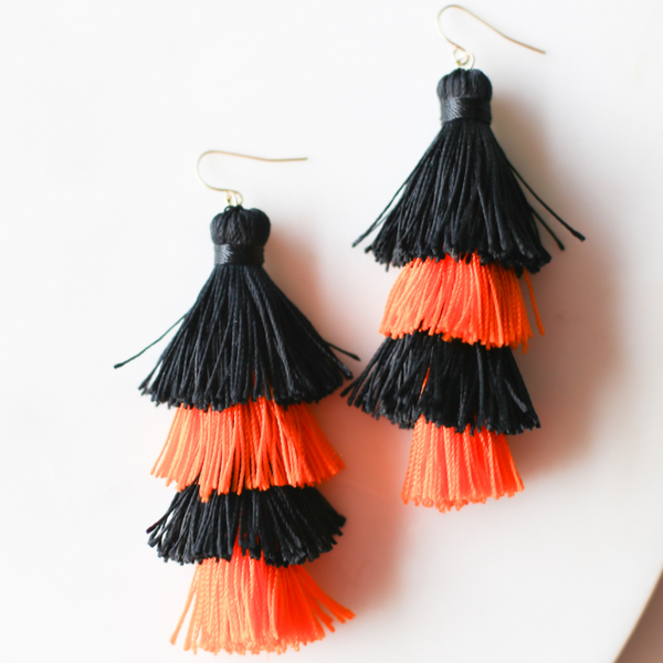 Halloween Black and Orange Tassel Earrings