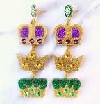 Triple Crown Mardi Gras Earrings