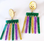 Mod Dangle Mardi Gras Earrings