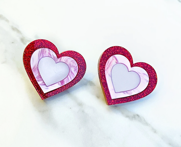 Oversize Heart Stud Earrings