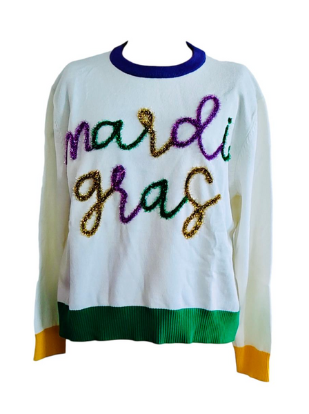 PRE SALE Mardi Gras Script Sequin Sweater