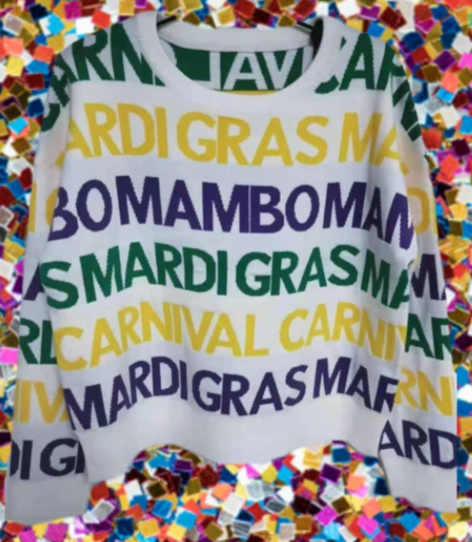 Mardi Gras Graffiti Sweater