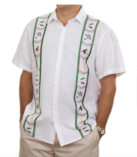 Mardi Gras Linen Button Down White