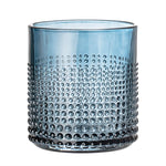 Embossed Drinking Glass, Smoke Blue