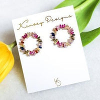 Hendrix Full Circle Earrings - Multi Color Baguette