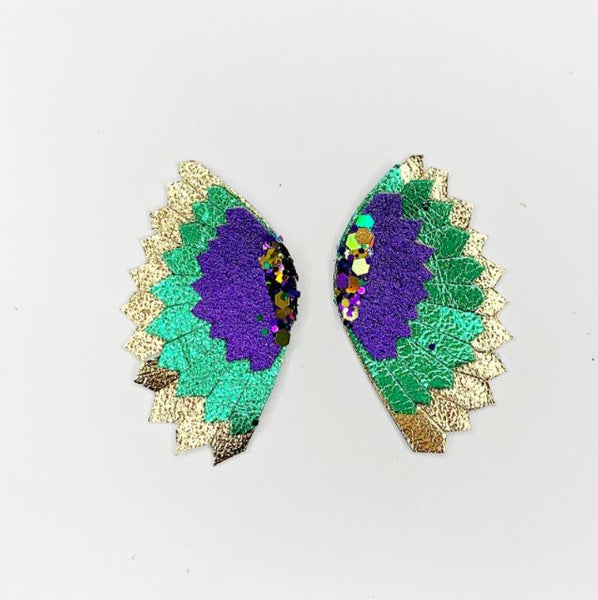 Tri Color Wing Earrings