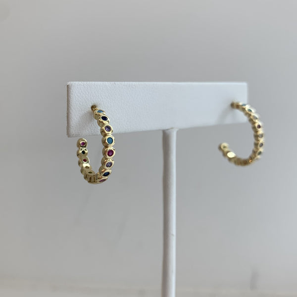 Multi-Colored Gemstone Hoops