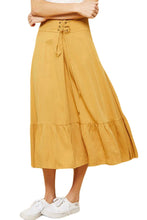 Load image into Gallery viewer, Mustard Lace Up Skirt