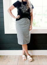 Load image into Gallery viewer, 'OLIVIA' SKIRT IN GRAY/WHITE STRIPES