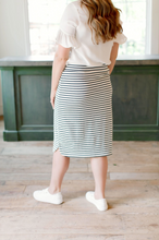 Load image into Gallery viewer, 'OLIVIA' SKIRT IN CREAM WITH NAVY STRIPES