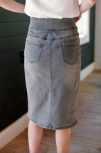 Load image into Gallery viewer, 'SARA' CLASSIC KNEE LENGTH DENIM SKIRT IN CHARCOAL