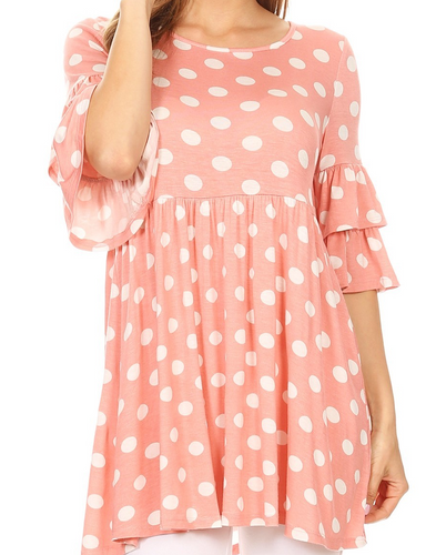 Pink and White Polka Dot Tunic