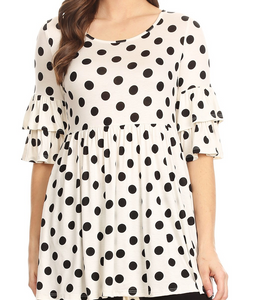 White and Black Polka Dot Tunic