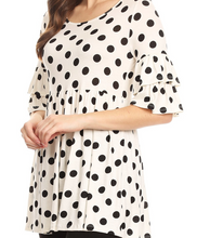 Load image into Gallery viewer, White and Black Polka Dot Tunic
