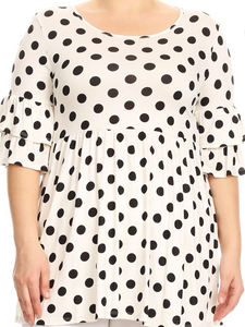 Plus Size White and Black Polka Dot Tunic