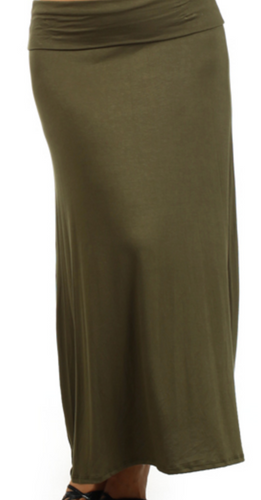 Plus Size Olive Maxi Skirt